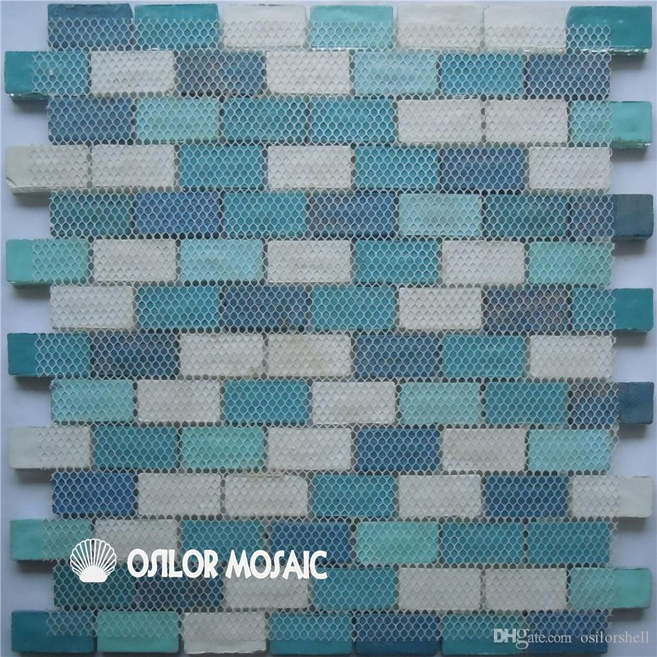 white and blue glass mosaic tile for interior house decoration bathroom and kitchen wall tile floor tile GM0920