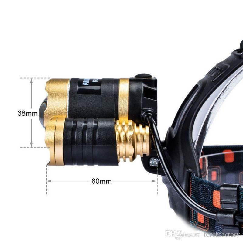 Boruit Gold 5000LM 3 xCREE XML T6 LED Zoomable Rechargeable Headlight Headlamp 18650 Head Torch Lamp+Lantern linternas for Hunting 2XCharger