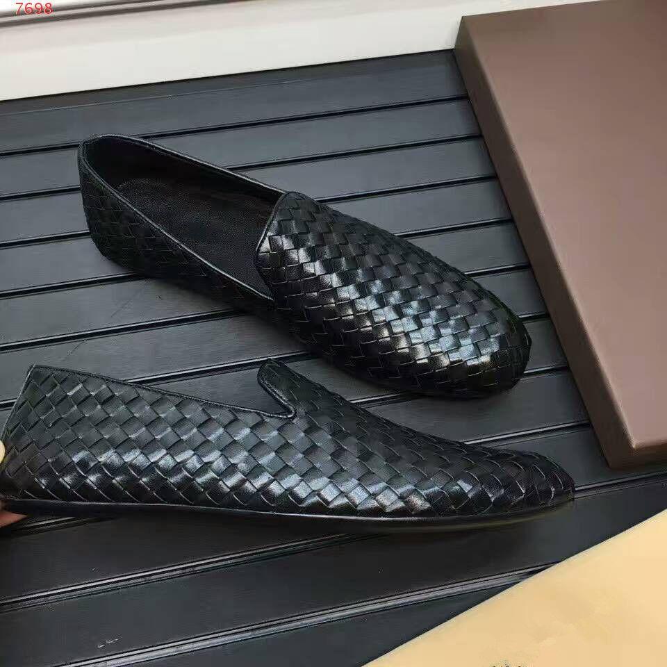 Hecho a mano, precio total, balck, zapatos de moda, zapatillas de ocio hechas de cuero genuino, mocasines, zapatos planos, zapatos de hombre, zapatos transpirables