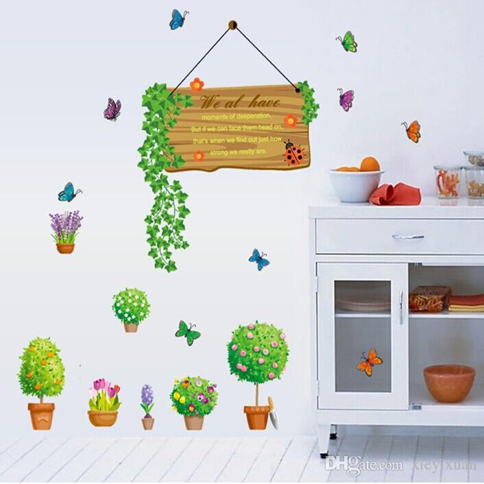 Can remove the wall stickers wall stickers pure and fresh and natural flower pot sitting room sofa glass counter Cartoon wallpaper