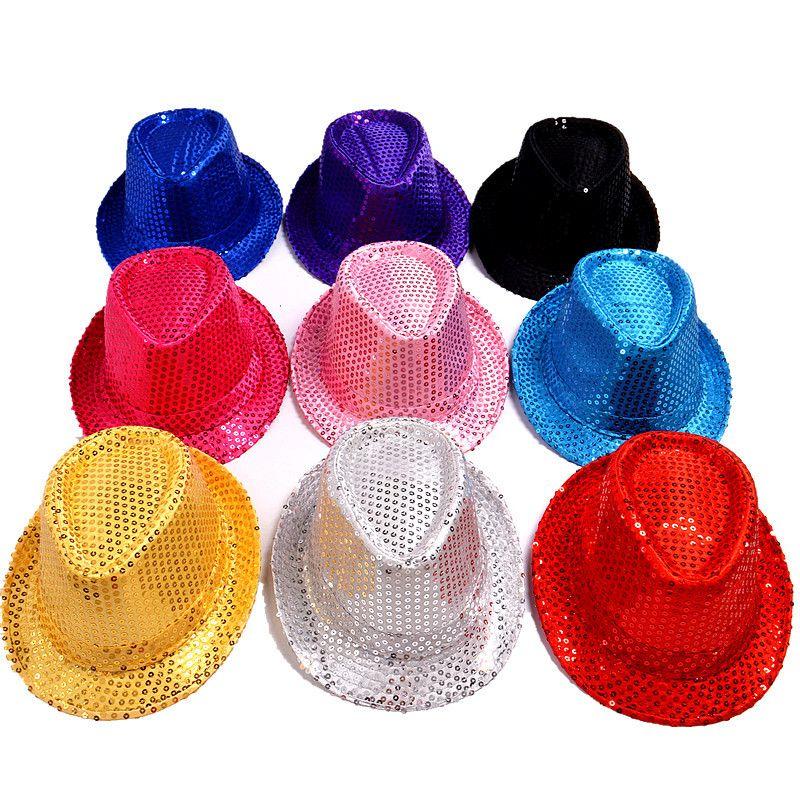 526f5f72a75 New Sequins Men Women Children Fedora Hat Fashion Adult Boys Girls ...