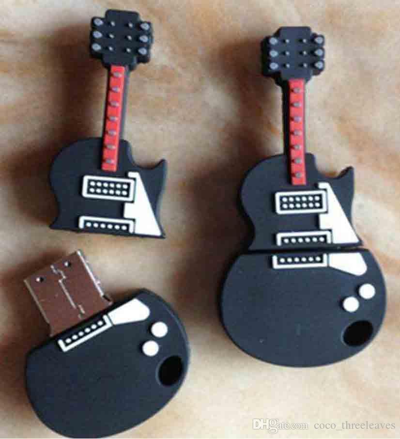 Yenilik özelleştirilmiş PVC Gitar Şekilli USB 2.0 Flash Sürücü tam kapasite için 64 MB-64 GB bellek flash sopa başparmak sürücü ucuz satış