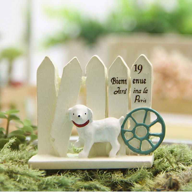 Grosshandel 1 Stucke Hund Zaun Figuren Mini Fee Garten Miniaturen
