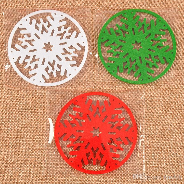 Hot 10 cm Christmas round Snow table mat crochet Christmas coasters zakka doilies cup pad props for dinning table decoration IB503