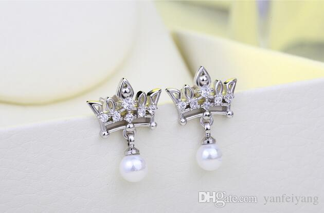 Top quality s925 Silver Rose Gold fresh water pearl crown Earring for women set with zircon E006