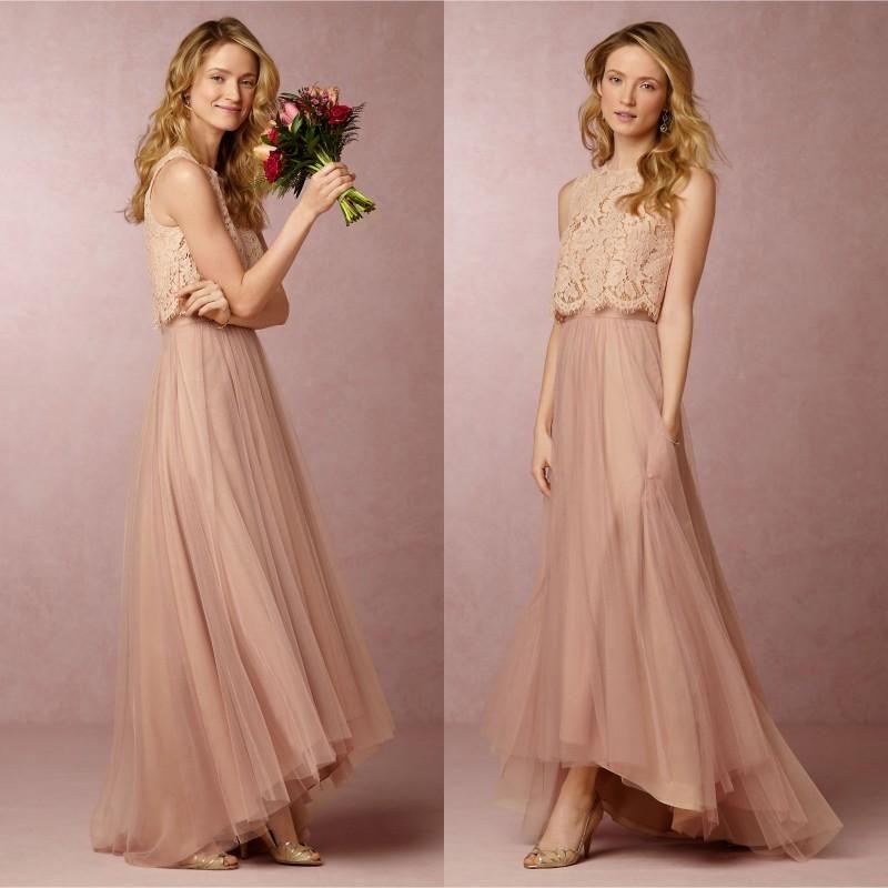 2018 Vintage Blush Pink Two Pieces Long Lace Bridesmaid Dresses High Low  Beach Bridesmaids Dress Wedding Party Gowns Bridesmaid Dress Ideas Bridesmaid  Dress ... 8ebadc6bfc9e