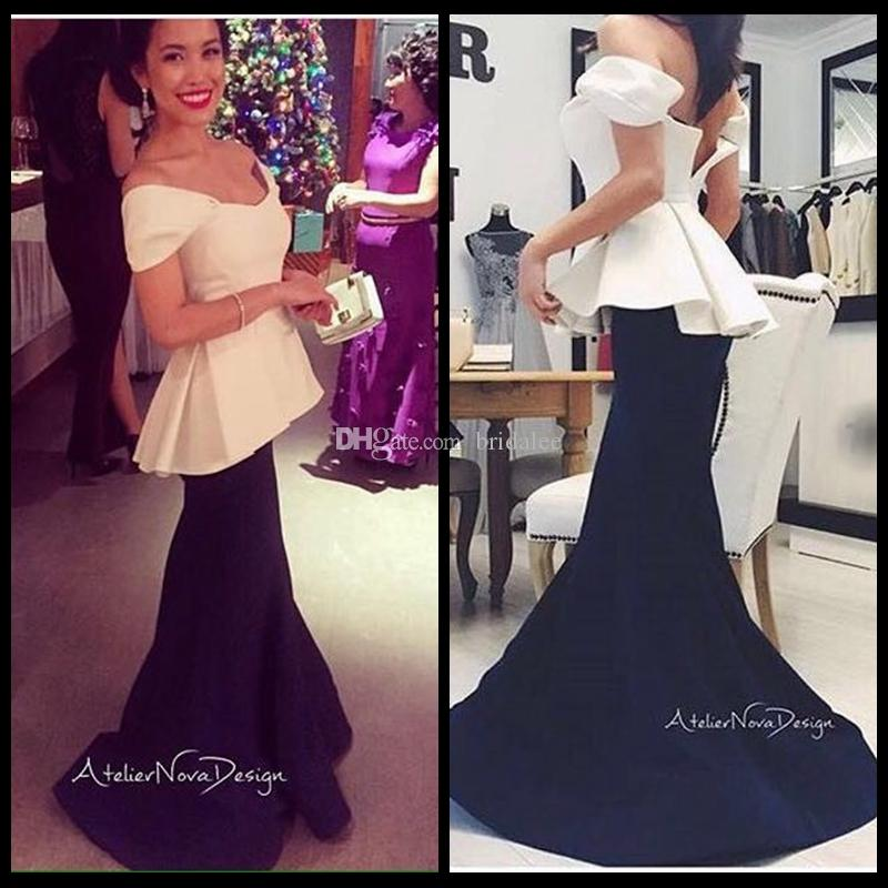 New Arrival Mermaid Cap Sleeves Black and White Prom Dresses 2016 Elegant Women's Formal Dresses Evening Wear