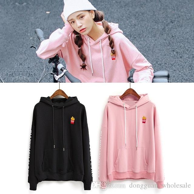 b81638fc001 2019 Harajuku Sweatshirt Women Spring 2017 Korean Style New Coats Men Cute  Pink Embroidery Fries Letter Kawaii Sport Hoodies Women From  Dongguan wholesale
