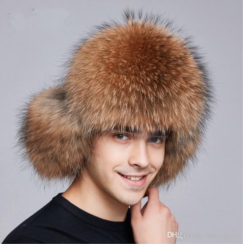 LUCKYFUR 2017 Winter Men Hat Earflap Real Fox Fur Hats Russian ... 2958b64b8631