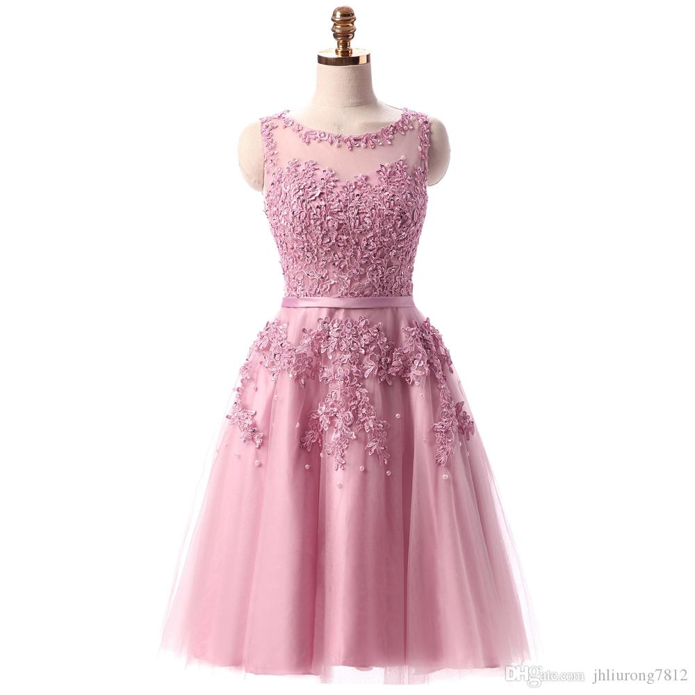 2016 Abendkleider Sweet Pink Lace Short Evening Dresses Bride ...