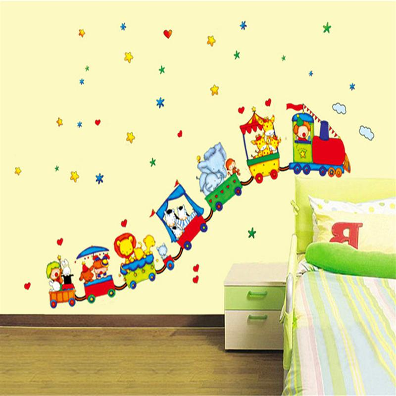 175x120cm Cartoon Circus Wall Stickers For Kids Rooms Living Room ...