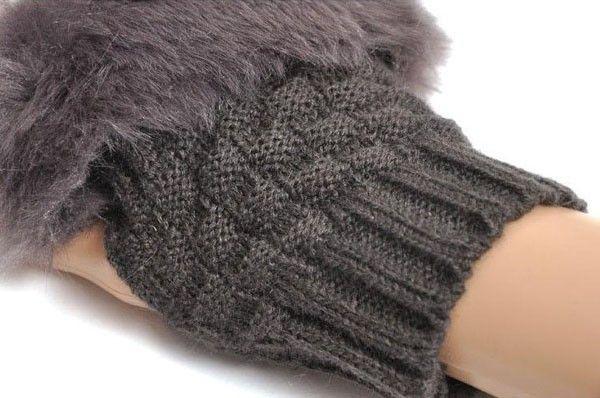 الشتاء الإناث الدافئة فو الثعلب الفراء أصابع قفازات المرأة محبوك المعصم قفاز نصف اصبع قفازات القفازات ، guantes موهير
