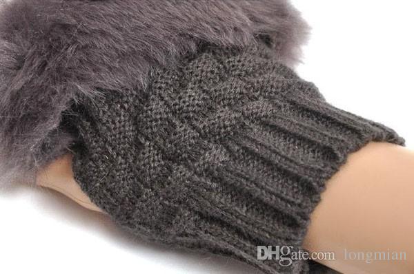 Winter Female Warm faux  Fur fingerless Gloves Women Knitted Wrist Glove half Finger Gloves mittens,guantes mujer