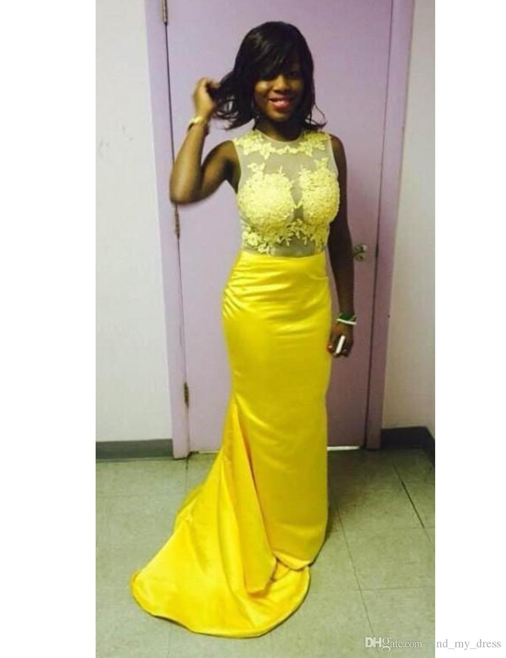 2019 diseño de moda sirena vestido de noche amarillo sin mangas joya cuello encaje satinado vestidos de fiesta largos tamaño personalizado