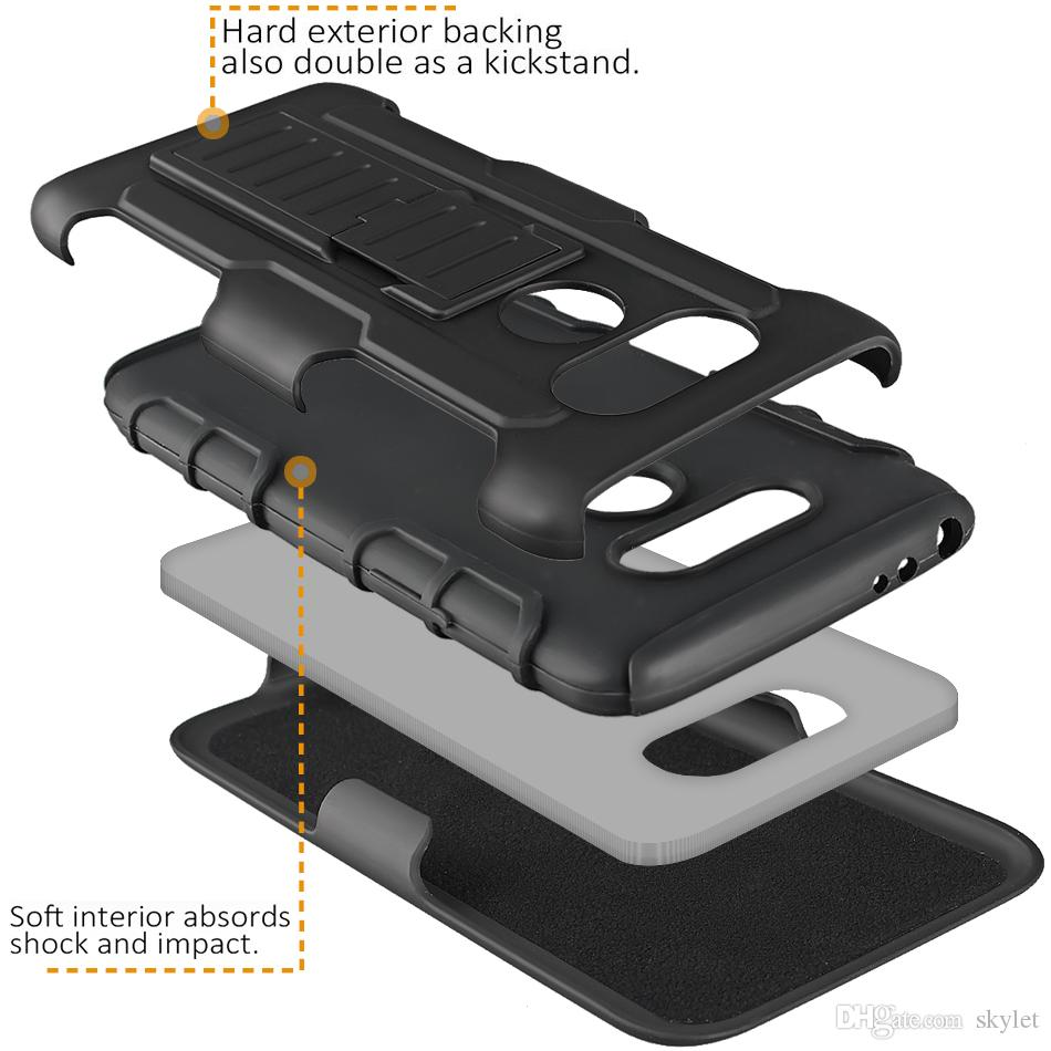 For Alcatel Fierce XL Armor Case Impact Hybrid Belt Clip Holster Kickstand Combo Case For Moto G with OPP Package
