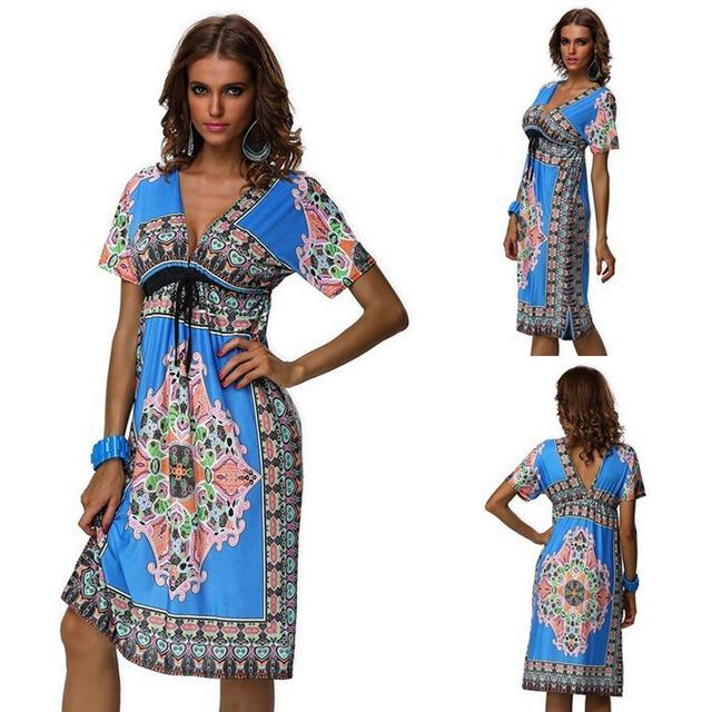 Women's Clothing Women's Floral Printed Vintage Summer V Neck Streetwear Bohemia Dress Beachwear