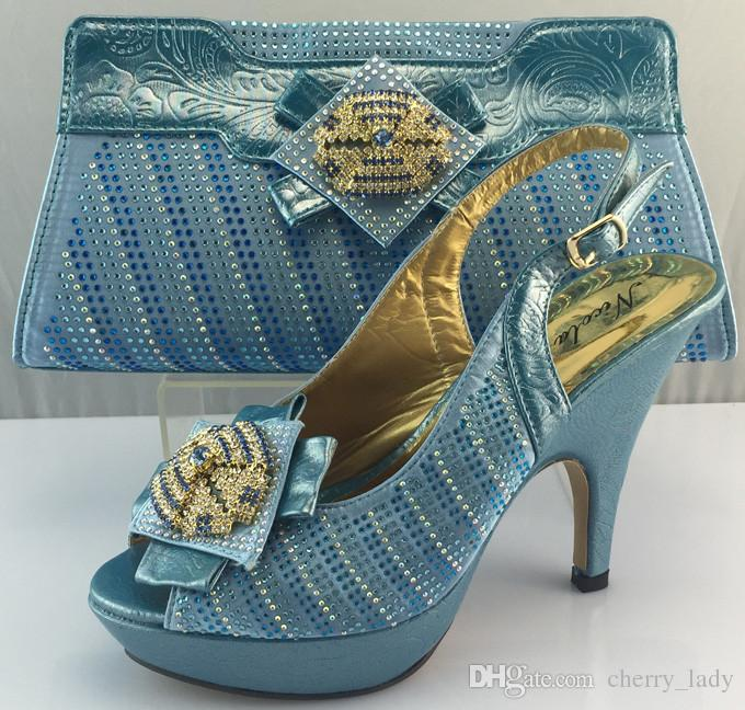 sky blue italian design wedding shoes and matching bags high quality women pumps for bridal dress