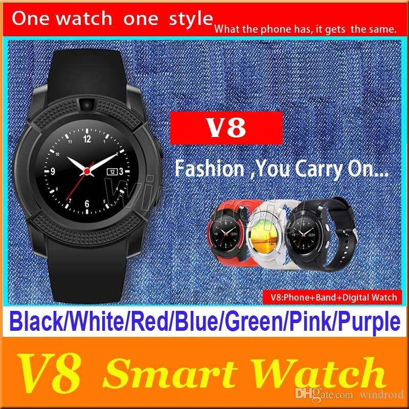 V8 Smart Watch Bluetooth Watches Android 0 3M Camera MTK6261D Smartwatch  for android phone Micro Sim TF card colors with Retail Package