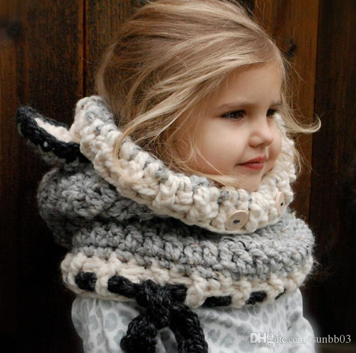 2017 Autumn Winter Baby Kids Cartoon Fox Hat Scarf Wraps One-piece Knitted Cap Beanies Handmade Crochet Neckerchief Children Hats M98