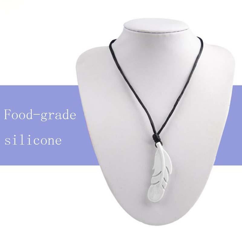 New arrived Fashionable Food Silicone Feather Beads Silicone Feather Teether Necklace With Strap DIY jewelry Pendant