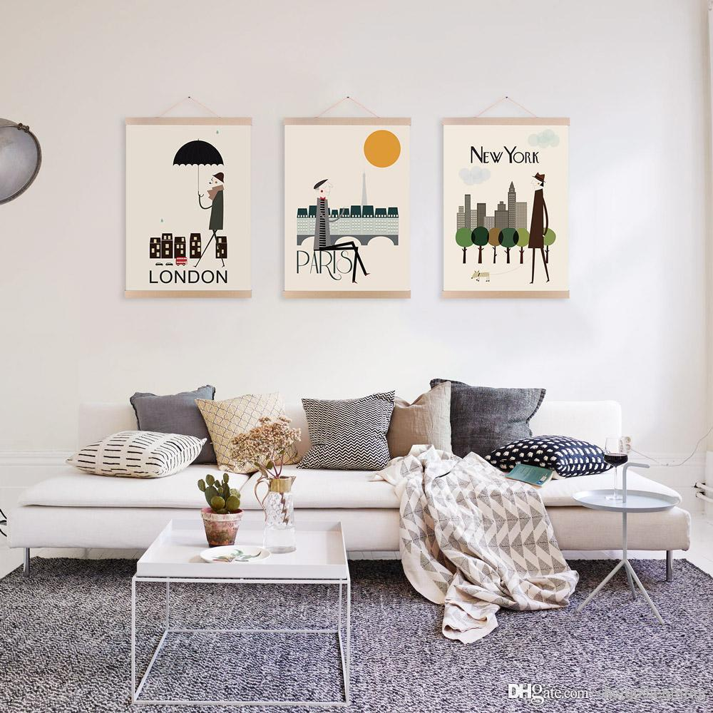 living room posters. 2018 Mild Art Drawing London New York Paris Set Modern Abstract Fashion Pop  City Poster Print Living Room Bedroom Home Wall Decor Canvas Painting From