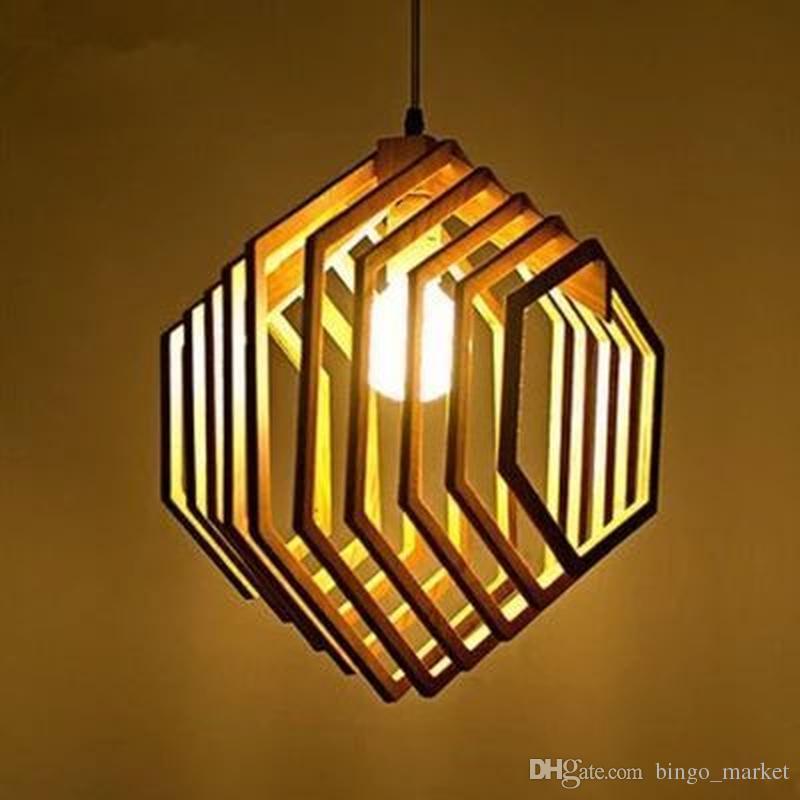 loft style wooden hexagon droplight modern pendant light fixtures