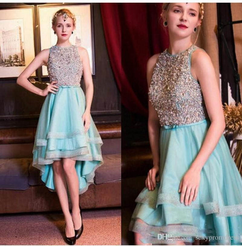 2017 Short Homecoming Dresses Sparkly Beaded Sleeveless Fashion High Low Tiered Skirts Prom Party Cocktail Dresses Evening Dresses