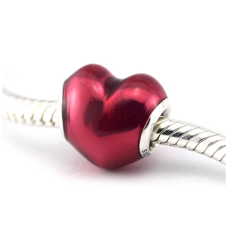 Em Meu Coração Encantos Esmalte Fuschia Se Encaixa pandora Encantos Pulseira 100% 925 Grânulos De Prata Violeta Esmalte Encantos Presente Do Dia Dos Namorados