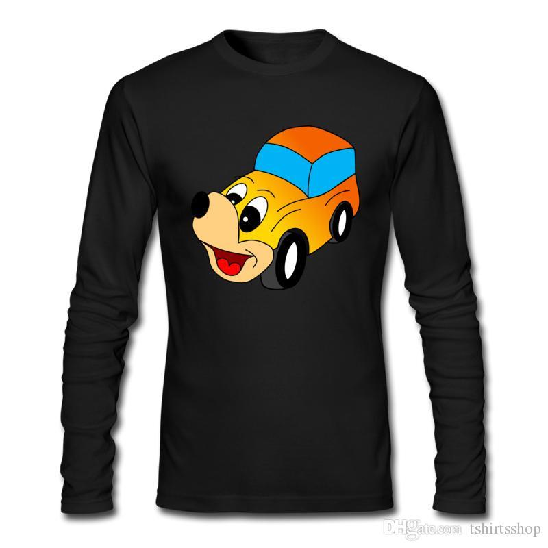 Nuove magliette divertenti da uomo Cute Cartoon Car Doodle T-shirt stampate Maniche lunghe e girocollo Tee Shirts