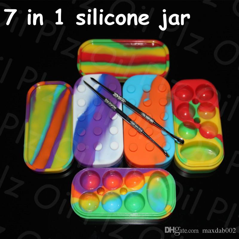 Commercio all'ingrosso 34 ml vasi di silicone caldo dab cera vaporizzatore contenitore dell'olio Contenitori in silicone scatola di cera Silicone Dab Jars 6 + 1