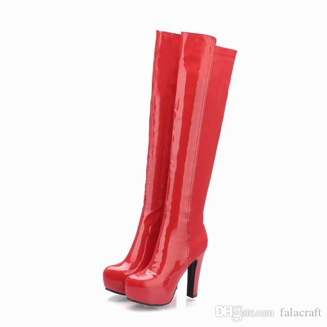 ladies patent PU stretch fabric thick platform high heel round toe pure color zipper ladies fashion cheap long boots 215-6-1