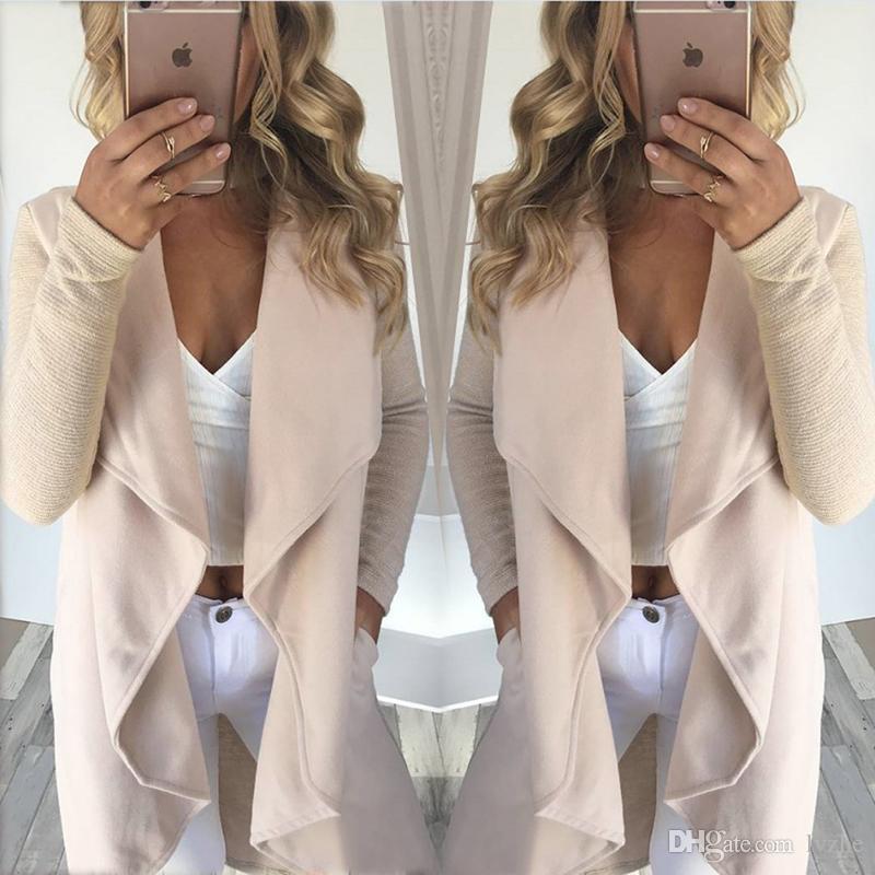 2017 New Fashion Womens Ladies Autumn Apricot Outerwear Long Sleeve Cardigan Irregular Jacket Coat 4 Size