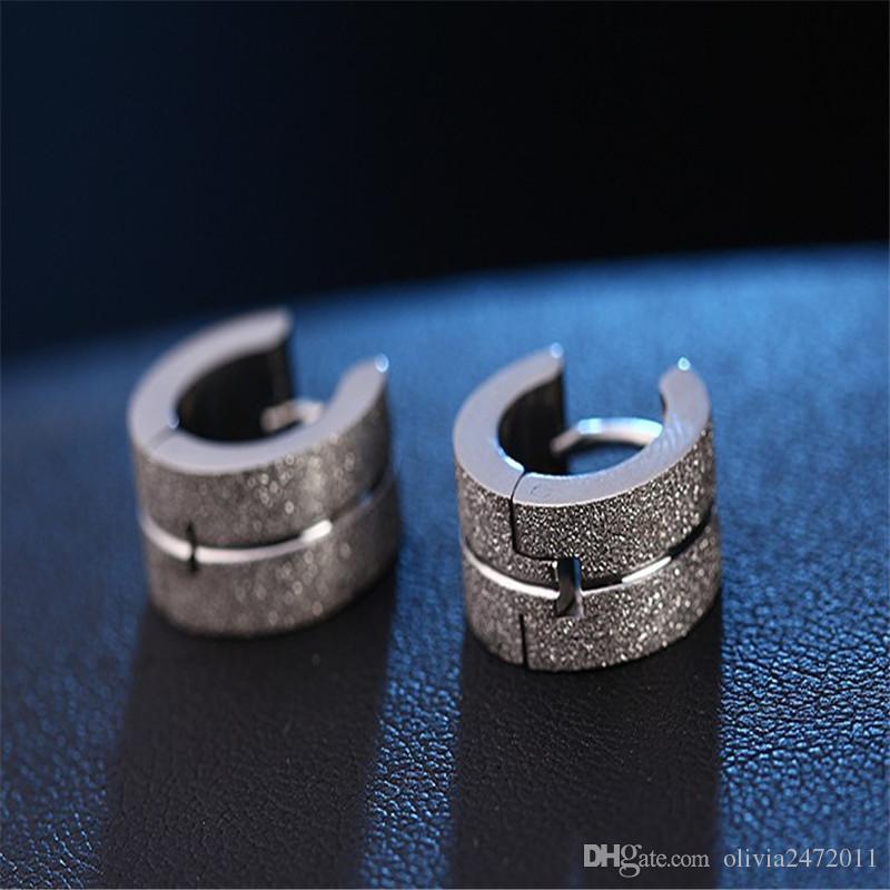 Men Women Punk Hoop Circle Earrings Fashion Stainless Steel Grinding Hoop Earring Silver Gold Black Colors HZ