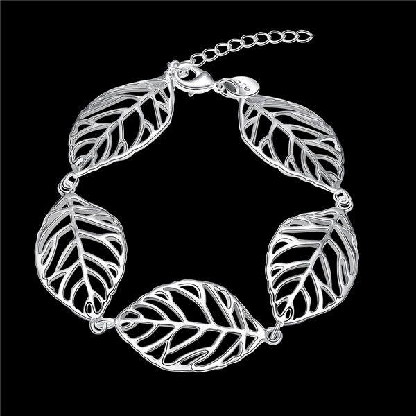 Hot Koop Kerstcadeau 925 Silver Leaves Armband DFMCH386, Gloednieuwe Mode 925 Sterling Zilveren Plaat Ketting Link Armbanden Hoogwaardig