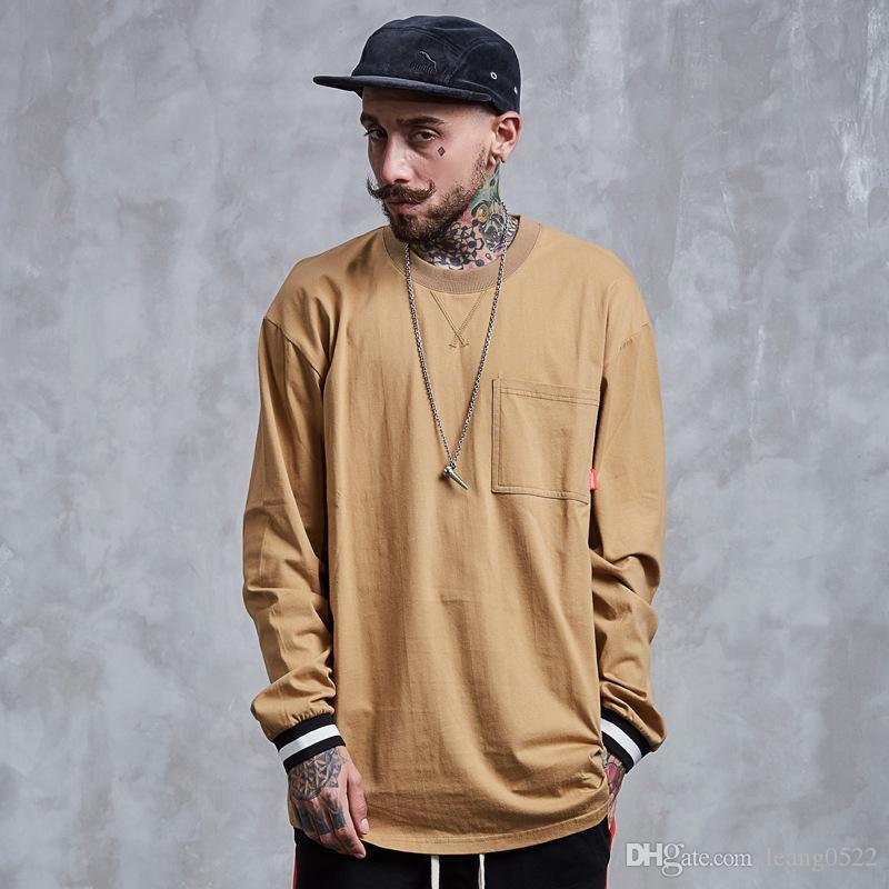 European street fashion men t shirt 2017 autumn long for Men s t shirt top brands