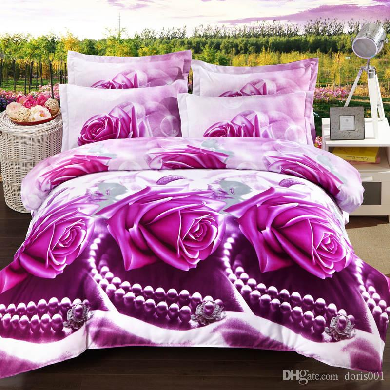 Wholesale Luxury 3d oil painting cheap cotton bedding set violet red queen size 4pcs /sets comforter /duvet covers bed sheet bedclothes set