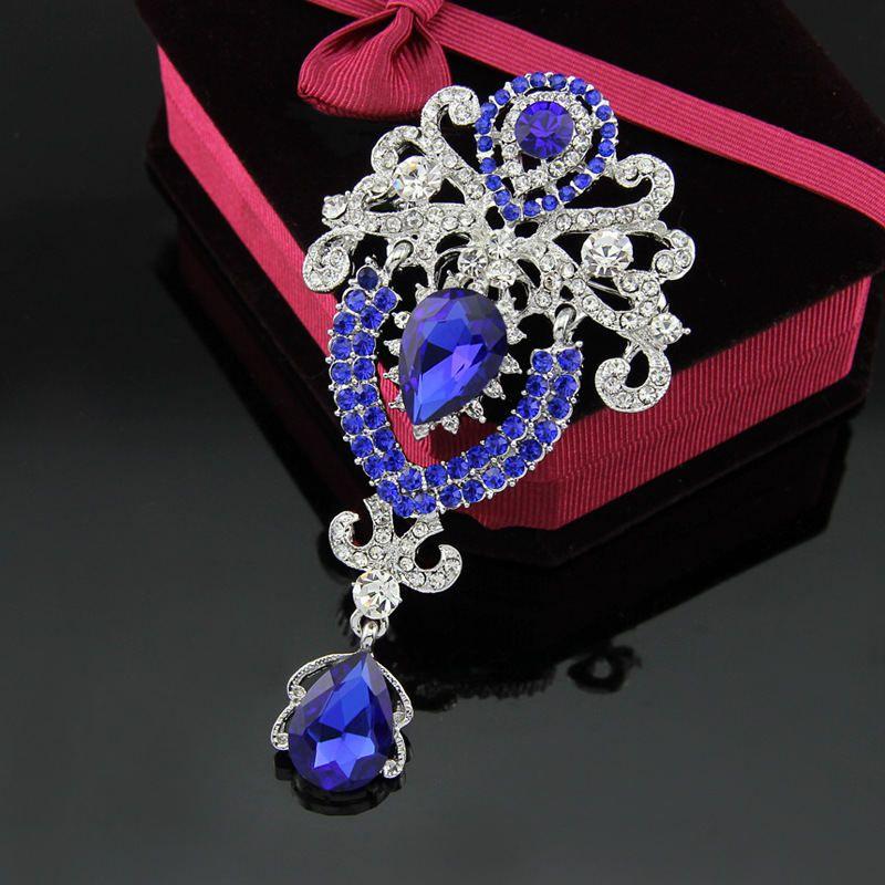 Strass Crystal Water Drop Brooches Pins Business Suit Dress Top Corsage Sciarpa Clip le donne Uomo Gioielli da sposa Regalo e Sandy