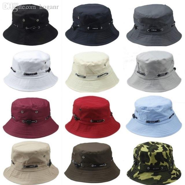 5027bd281db Wholesale-Solid Color Bucket Hats for Men Panama Women Fishing Hat ...