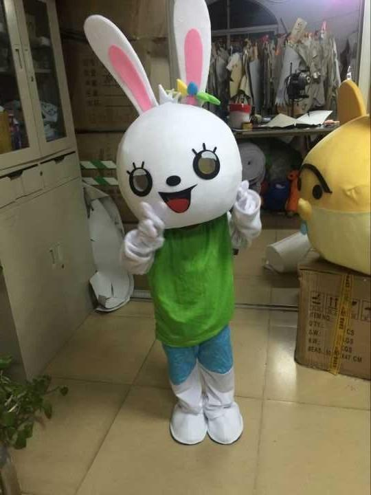 trasporto libero del costume bianco della mascotte del coniglio del costume commovente di vendita caldo della mascotte