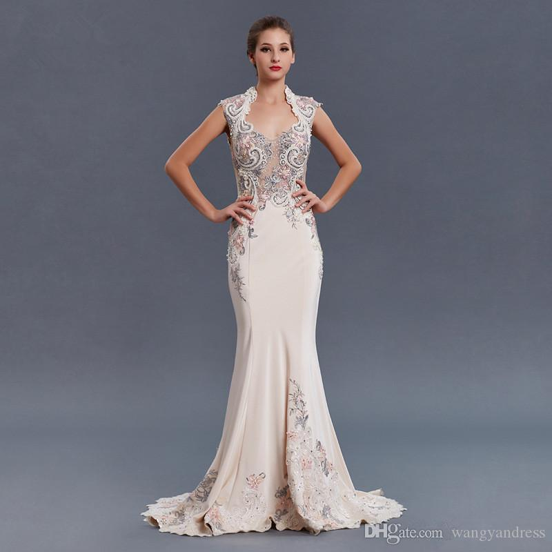 2017 Graceful Hohe Qualität Lange Meerjungfrau Abendkleid High Neck Applique Perlen Sweep Zug Prom Party Kleid Besondere Anlässe Kleid