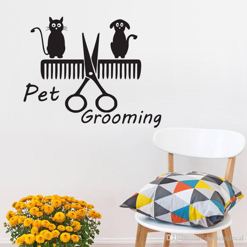 Cat And Dog Stand On Comb And Scissors Wall Stickers Home Decor Pet Grooming Wall Decals Animals Vinyl Wall Decoration