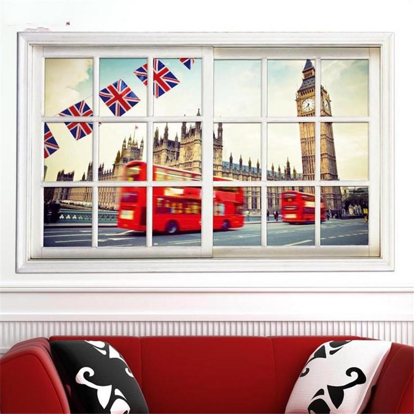 3D View Window UK Street Britain Big Ben Home Décor PVC Removable Wall  Sticker Wall Decal Mural Art 50x70cm, Waterproof Part 39