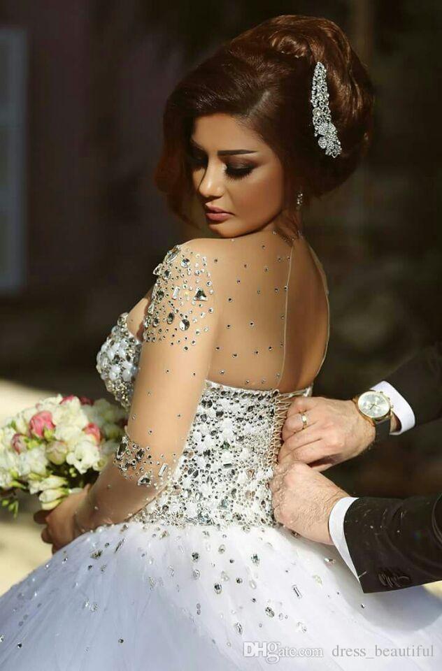 Diseñador Cristales de lujo Mangas largas Bola Vestidos de boda Vestidos de boda Rhinestones Encaje-arriba Atrás Arabe Boda Vestido Puro Cuello Vestidos De Novia