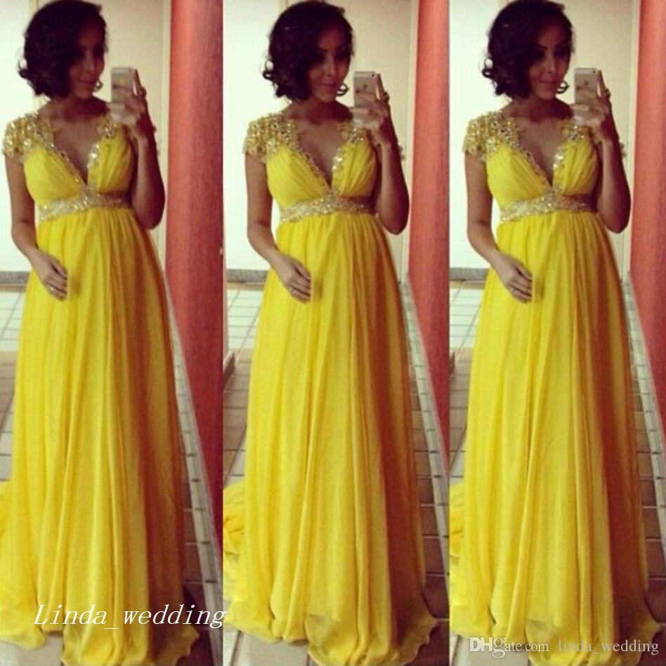 2019 الأصفر استحمام الطفل حزب اللباس جديد الخامس عنق طويل النساء الحوامل رسمي المناسبات الخاصة فستان سهرة زائد الحجم vestidos دي فيستا