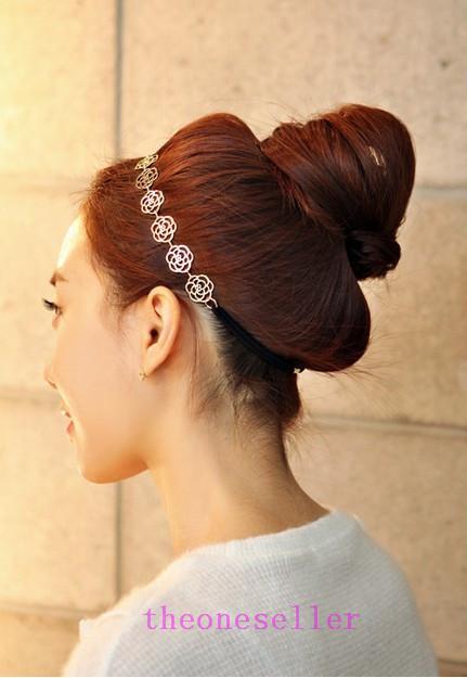 2016 hot Womens Moda Cadeia De Metal Jóias Oco Rose Flor Elastic Hair Band Headband Jóias Headwear