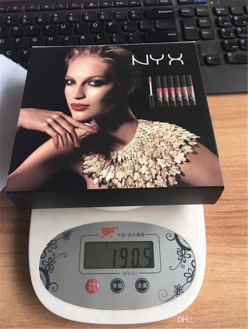 Diskont-Preis-NYX Wäsche-flüssiger Mattlippenstift / set Luxuxsamt-Matt nackte Lippenglanz-Qualität DHL frei