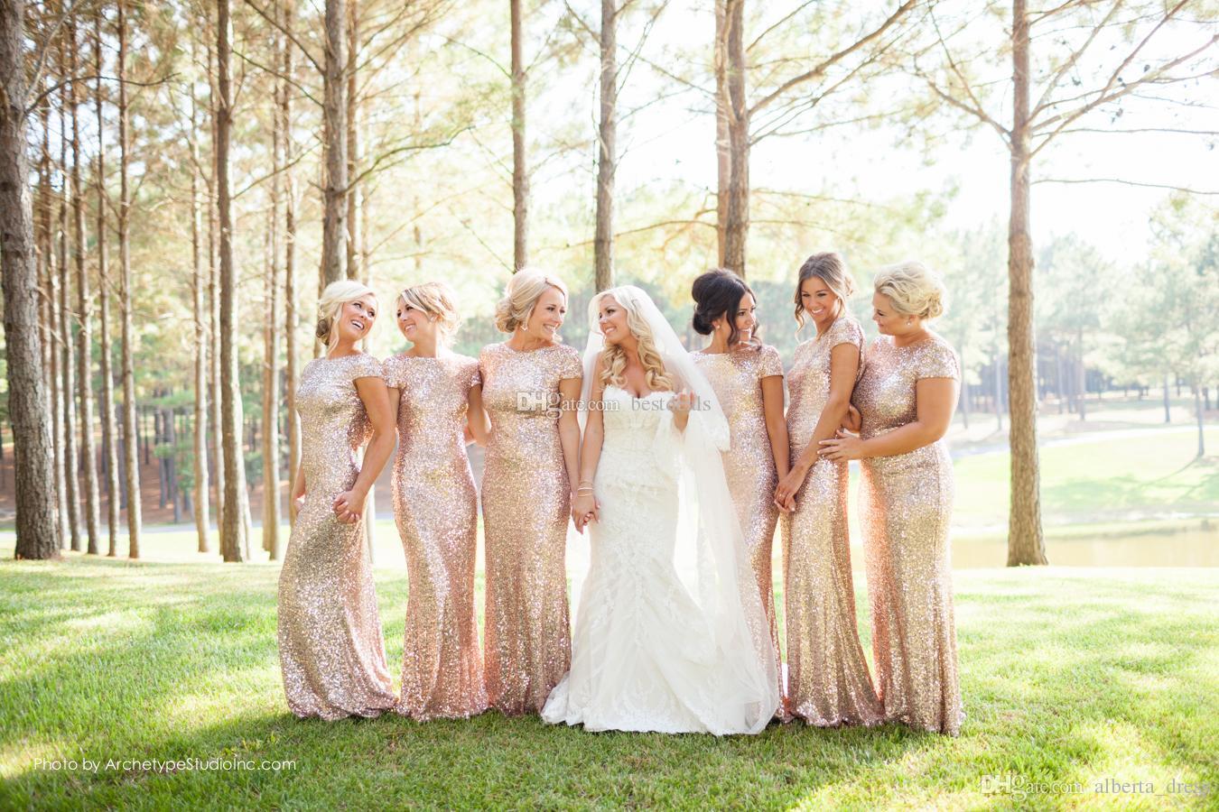 Sparkly Rose Gold Billig Mermaid Brautjungfernkleider 2020 Kurzarm Pailletten Backless Long Beach Hochzeits-Gowns Gold Champagner