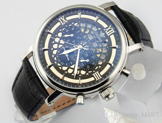 1603 Ossna 45mm Black Dial Silver Stainless Steel Case Mechanical Automatic Men's Watch Gift For Men