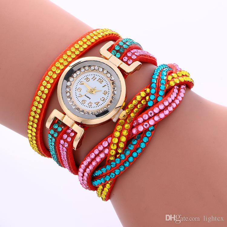 New Style Rainbow Full Crystal Weave Braided Bracelet Watch Luxury Diamond Long Leather Band Colorful Creative Quartz Watch Clock