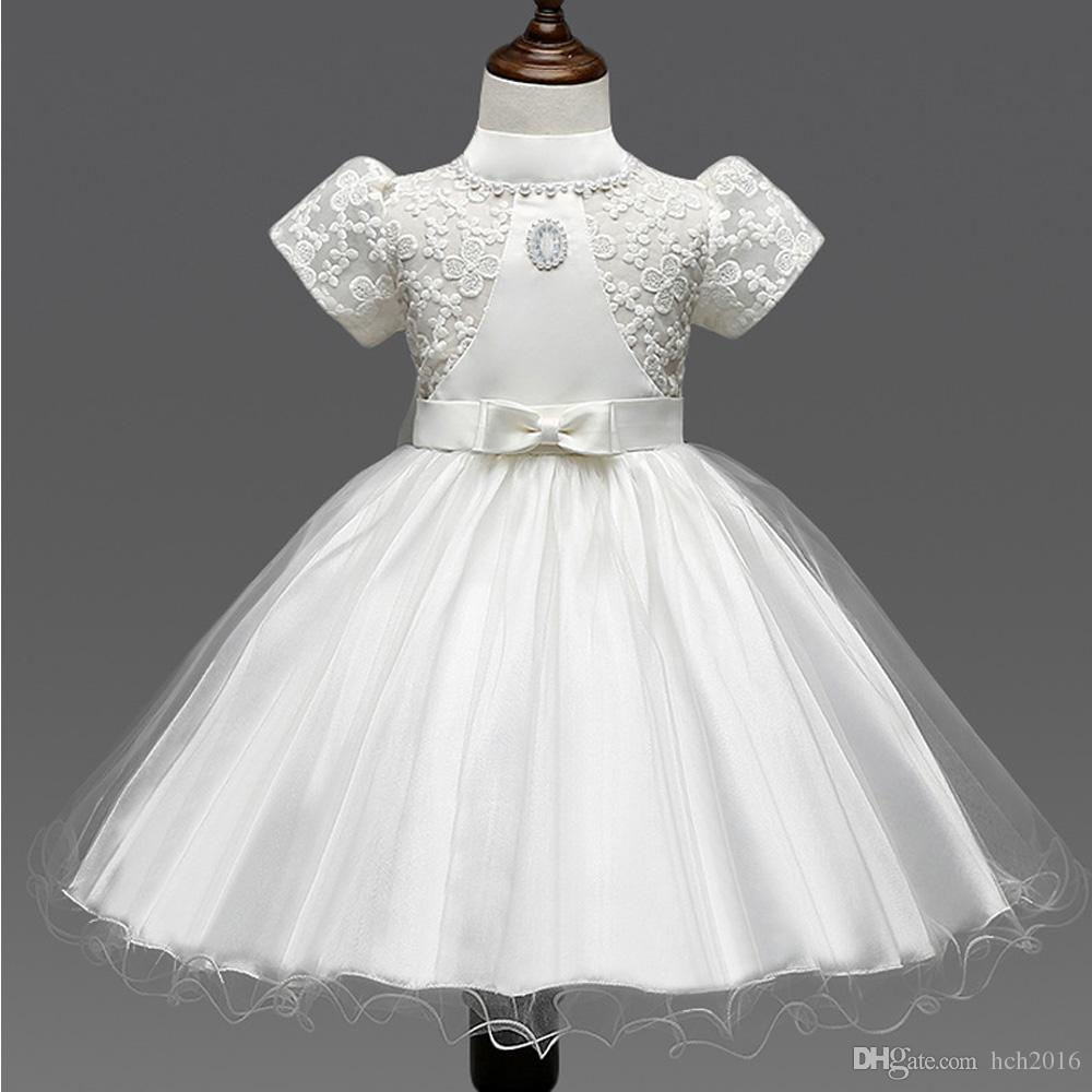 2ce178a1fd2 2019 Baby Kids Clothing 2018 Flower Girls  First Communion Dresses Wedding  Princess Short Sleeve Ball Gown Lace TuTu Skirt Flower Girl Dress From  Hch2016